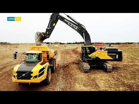 EC480E und A40G bei der Geländevorbereitung für den Kalksteinabbau