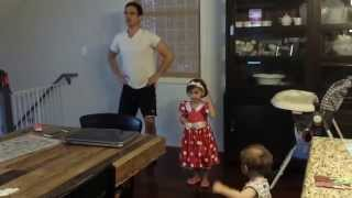 Amelia and Will practice recital dance - 6/9/2014
