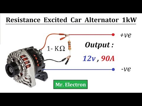 12v 90 Amps Car Alternator to 1000 Watts Resistor Excited Generator