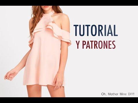 Aprender a coser: Vestido cuello halter y volantes mujer (patrones gratis)
