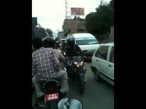 Crazy Nepali traffic by motorcicle