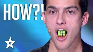 TONGUE TWISTER! Guy Solves Rubik's Cube With TONGUE | Got Talent Global width=