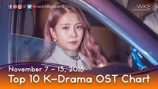 Top 10 K-Drama OST Chart (November 7 - 13, 2016)