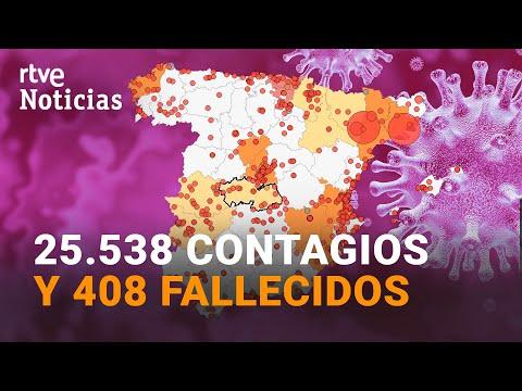 Sanidad notifica 25.438 NUEVOS CASOS y 408 MUERTOS mientras la incidencia sigue subiendo | RTVE
