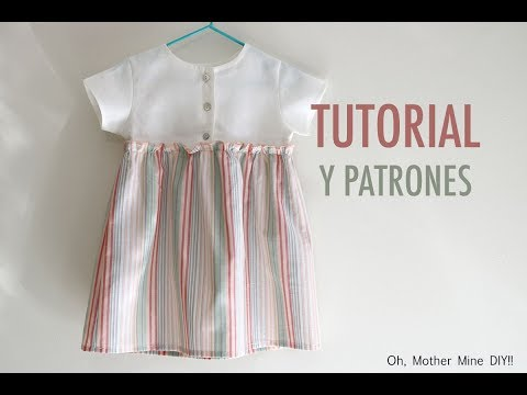 Costura y patrones: vestido de niña con telas combinadas (tallas hasta 7 años)