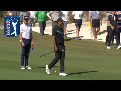 Tiger Woods outdrives Justin Thomas at Hero World Challenge 2019