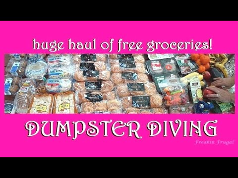 HUGE LOAD OF FREE GROCERIES FROM THE ALDI DUMPSTER ~ DUMPSTER DIVING FOR FOOD ~ EXTREME FRUGALITY ~