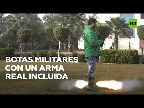 Inventor crea unas botas militares con rastreador, trasmisores y arma de fuego incluida