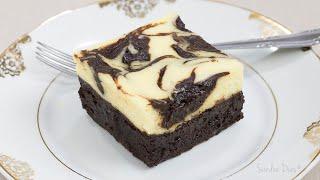 Brownie Cheesecake: brownie denso e chocolatudo c/ cheesecake cremoso | Receita Sandra Dias