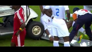Ambulance that almost runs over a player in the Africa Cup of Nations