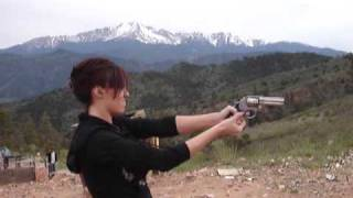 Girl Shooting a .357 Magnum S&W 686 at Rampart Range colorado springs