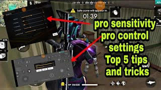 Freefire pro settings  and pro control  // top tricks and tips for showdown  and solo player