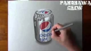 Amazing 3D Drawing Art With Pencil - pepsi like real