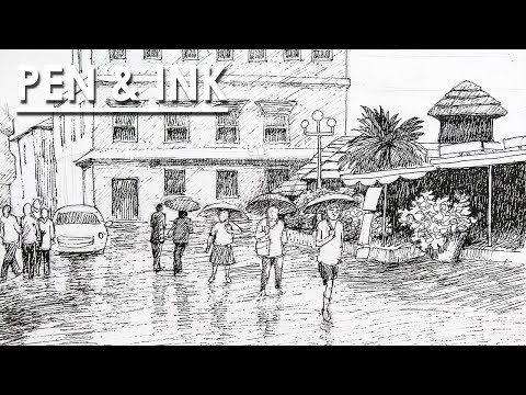 Pen & Ink Drawing | How to Draw A Rainy Cityscape