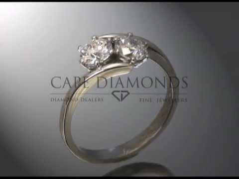 Split band ring,2 stones,round diamonds,platinum,engagement ring