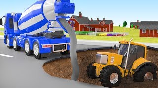 Crane Rescue Concrete Mixer Animation Cars Police Cartoon Tractor for Kid