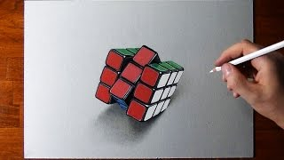 Drawing my Rubik's Cube - time lapse