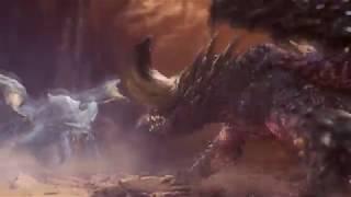 Monster Hunter: World - Lunastra intro - Teostra & Lunastra fight Nergigante