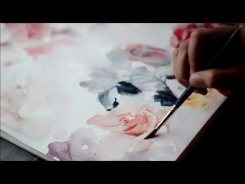 Watercolor Flower Painting in real-time