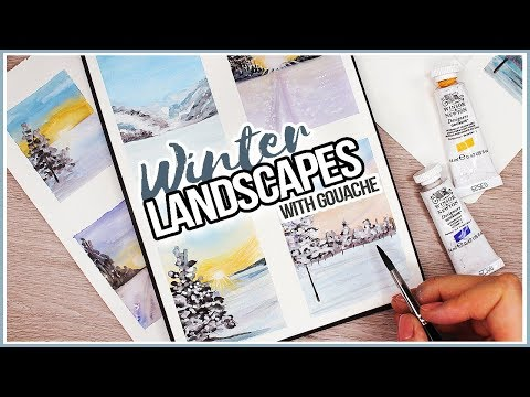 How to Paint a Winter Landscape Scenery with Gouache // Art Journal Thursday