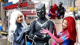 BLACK PANTHER VS SPIDER MAN VS New York Comic Con 2017 Ft. DEADPOOL