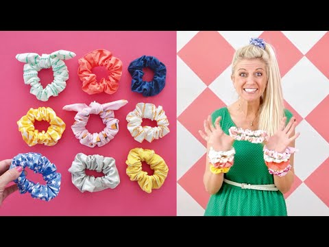 How to make SCRUNCHIES — any size + with a tie! EASY