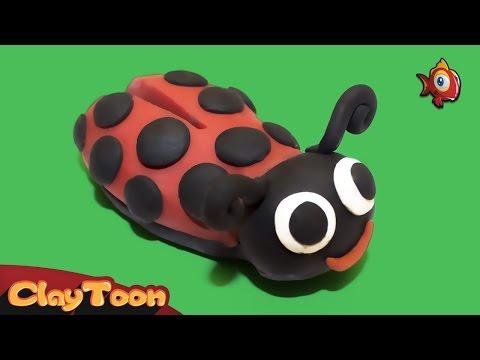 Ladybird - Ladybug - Polymer clay tutorial for kids |  دعسوقة (خنفساء) - تشكيل صلصال للأطفال