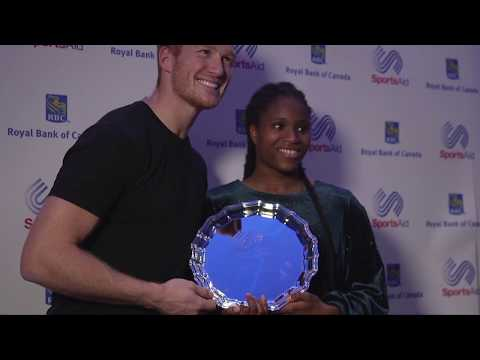 Caroline Dubois presented with SportsAid's One-to-Watch Award 2018 by Greg Rutherford MBE