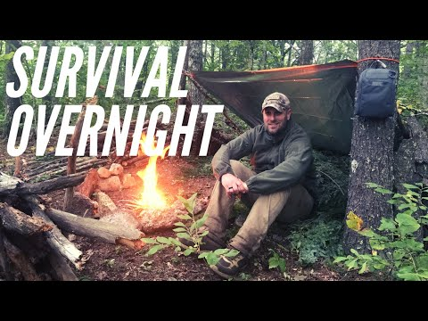 Survival Overnight & Survival Kit Test: Eating Cat Fish & Crickets + Fire, Shelter, Wild Edibles