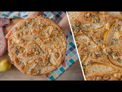 ФОКАЧЧА с голубым сыром и грушей   домашний хлеб с цельнозерновой мукой   простой рецепт