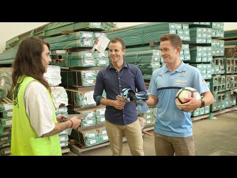 Brandon O'Neill from Sydney FC surprises fan Davie Pattone at work