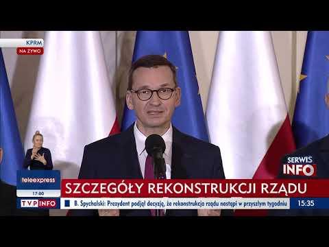 Wypowiedź premiera Mateusza Morawieckiego dla mediów - rekonstrukcja Rządu
