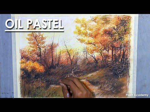 Oil pastel Tree Landscape : Learn use of Blending & Scratching Technique