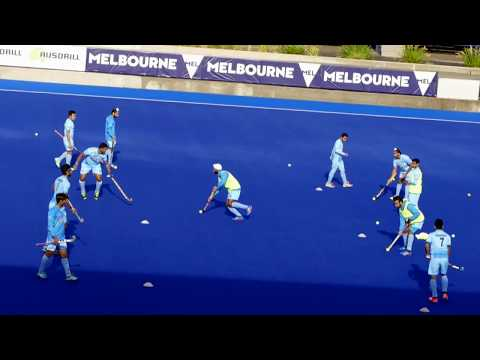India warm up. Hockey warm up prior to Malaysia game