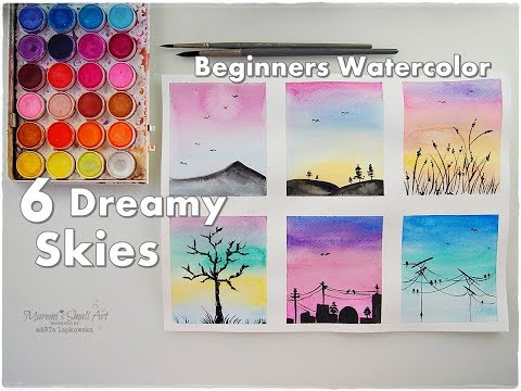 6 Dreamy Skies Watercolor Painting for Beginners ♡ Maremi's Small Art ♡