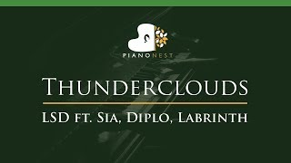 LSD - Thunderclouds ft. Sia, Diplo, Labrinth - LOWER Key (Piano Karaoke / Sing Along)