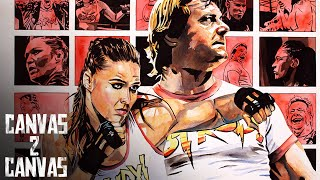 Get ROWDY! Ronda Rousey and Roddy Piper immortalized by Rob Schamberger - WWE Canvas 2 Canvas