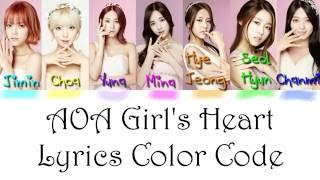 AOA - Girl's Heart Lyrics Color Coded