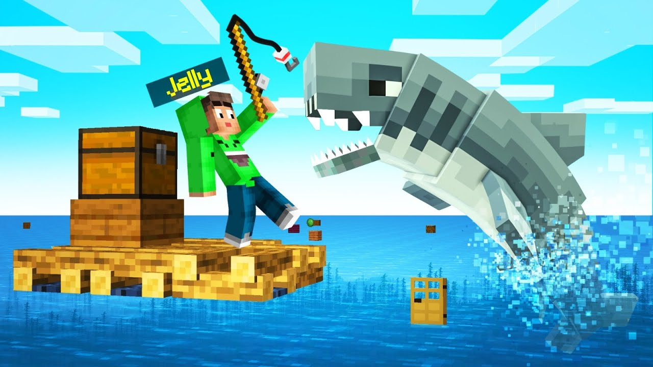 Jelly - Playing RAFT In MINECRAFT! (Survival)