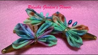 Kanzashi #82 - Flor de Tecido Organza-  Borboleta - Butterfly ! - DIY -   Flower   / サテン花 / 簪