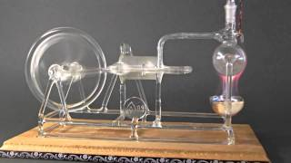 Working Model of Stephenson\'s STEAM ENGINE made of GLASS ! Rare!