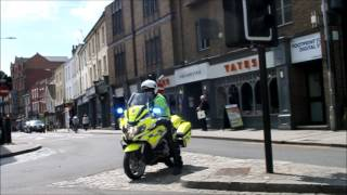 East of England Ambulance & Essex police escorting a demo
