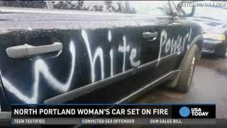 'White power' painted on grandmother's car set ablaze