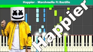 Happier Piano Tutorial - Free Sheet Music (Marshmello and Bastille)