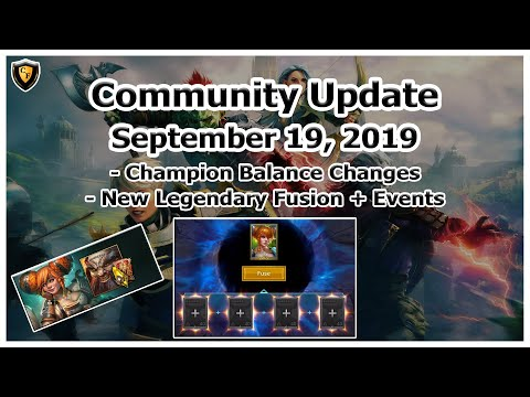 RAID Shadow Legends | Community Update | Sept 19, 2019 | Legendary Fusion + Balance Changes