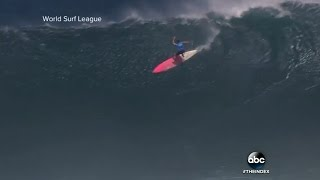 Paige Alms | First Female Shatters Big Wave Competition