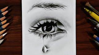 How To Draw Hyper Realistic Eye | An Eye with Teardrop