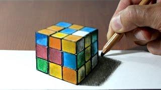 3D Trick Art on Paper, Rubik's Cube