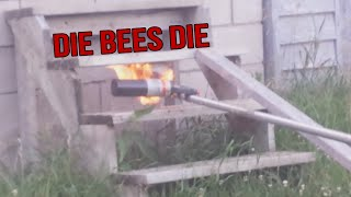 Destroying a Massive Live Wasp Nest With a Flamethrower