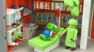 크롱이 꾀병을 부리다가 병원에 실려가 수술을 받다 뽀로로 플레이모빌 어린이 병원놀이 Playmobil Children's Hospital Play ❤ 뽀로로 장난감 애니